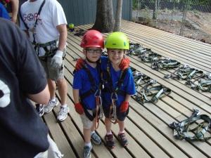 Bo and Jack looking like little mountaineers